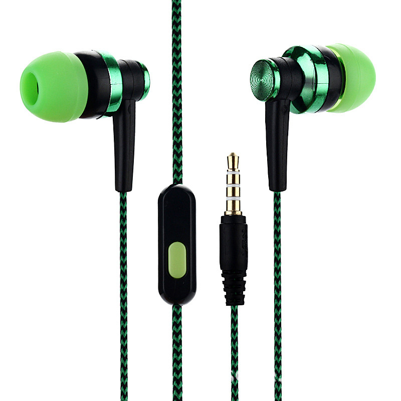 1pcs In-ear Braided Wiring Cord Universal Music Subwoofer Eardphone Wheat Wire Earphone For Smart Phone For Android Mobile Phone