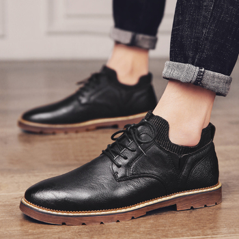 Men casual Shoes Oxford Shoes Lace Up Men Leather Shoes Walking High Quality outdoor breathable round Toe Shoes men sneakers