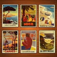 Póster de viaje Vintage para surf en la playa, pinturas clásicas sobre lienzo vascas, pósteres de pared, pegatinas para decoración del hogar, regalo
