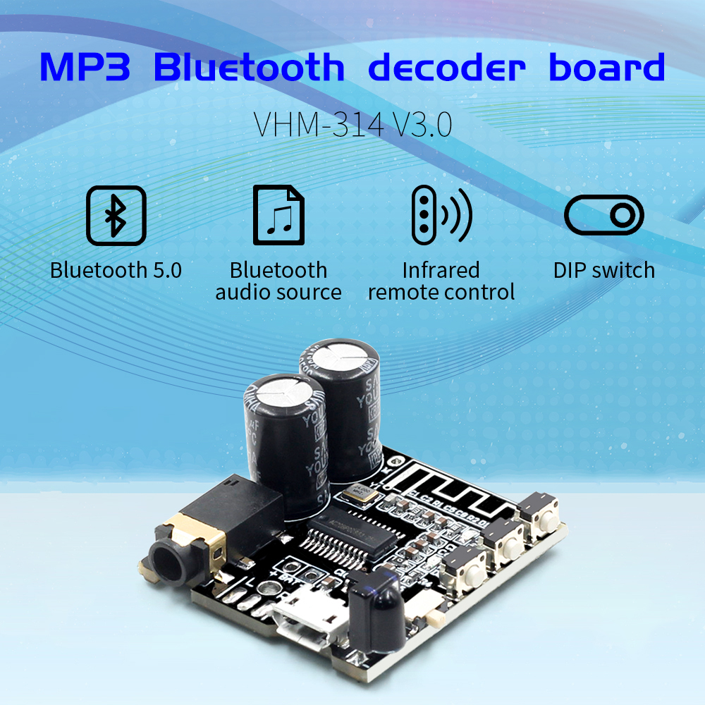VHM-314 V3.0 Bluetooth Audio Receiver Board Bluetooth 5.0 Mp3 Lossless Decoder Board With EQ Mode And IR Control