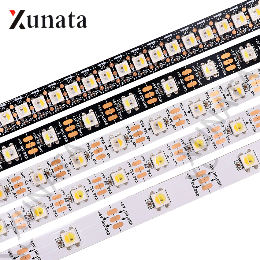 Tira de LED de 5V direccionable SK6812 RGBW, 30/60/96/144 ledes/M, tira de píxeles LED individual, impermeable, RGBWW RGBNW WWA Similar a WS2812B 6 unids/lote 54X3W/36x3w LED placa base par RGBW DC 12-36V placa base de presión constante 4/8CH accesorio de luz de escenario profesional
