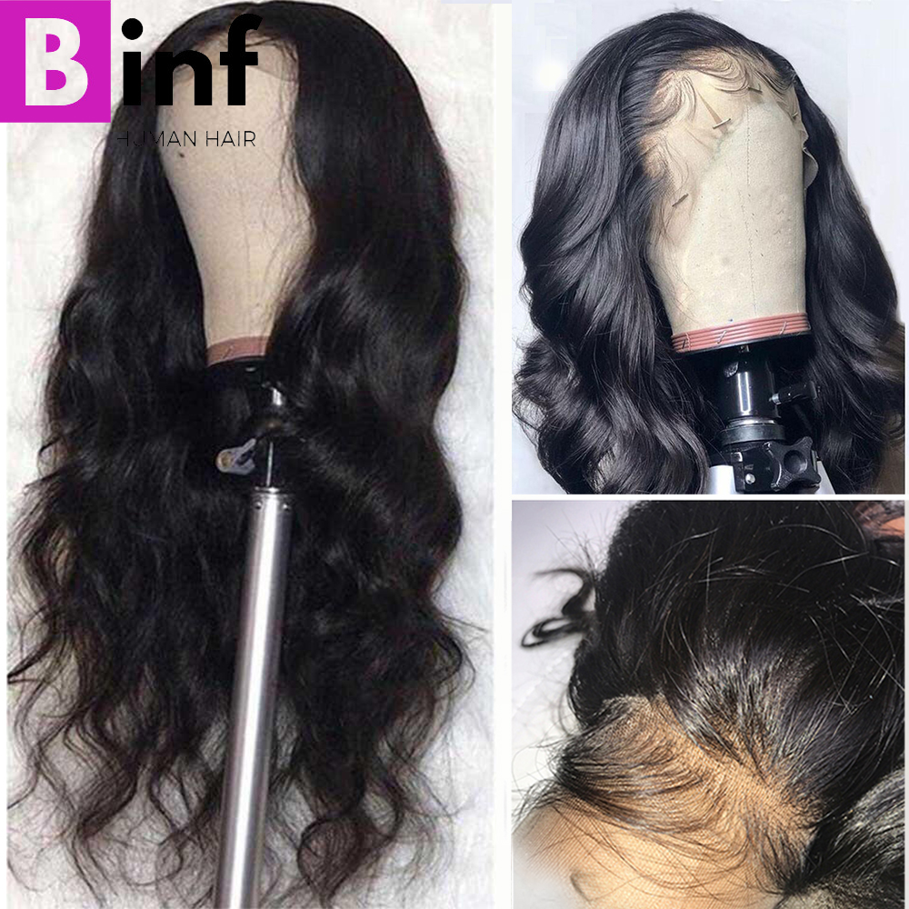 BINF 13x4 Lace Front Human Hair Wigs Body Wave Pre Plucked Hairline Baby Hair 8- 24Inch Indian Remy Human Hair Lace Frontal Wigs