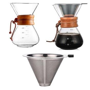 2020 szklane dzbanki do kawy odporny na ciepło klasyczny ekspres do kawy wlać ekspres do kawy dzbanek do kawy filtr do kawy ze stali nierdzewnej tanie i dobre opinie CN (pochodzenie) 0 45l Szkło Francuski Prasy