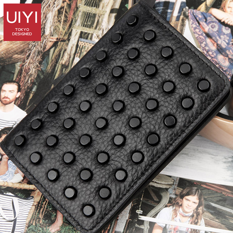 UIYI New Black Card Package Business Card Holder Fashion Rivet Cross Section First Layer Leather Men's Wallet Card Package