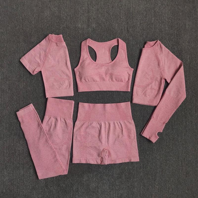 2/3/5PCS Seamless Women Yoga Set Workout Sportswear Gym Clothing 3