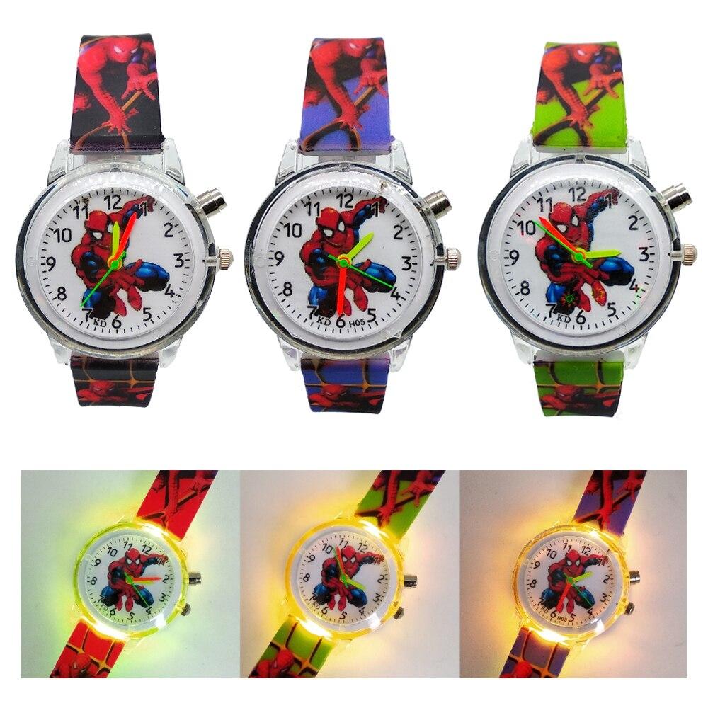 Luminous Children Watches Spiderman Colorful Light Source Boys Watch Girls Kids Party Gift Clock Wrist Bracelet Relogio Feminino