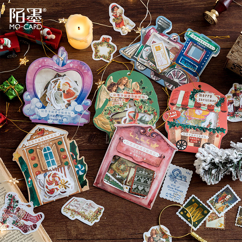 Vintage Stamp Merry Christmas Series Journal Decorative Gold Stickers Scrapbooking Stick Label Diary Stationery Album Stickers