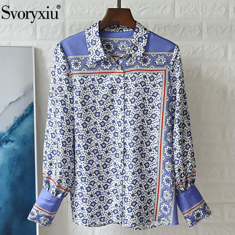 Женская шелковая блузка Svoryxiu, голубая или белая винтажная блузка с длинным рукавом и принтом на осень 2019