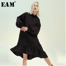 Vestido de sirena informal de algodón con cuello alto, manga larga, corte holgado, moda, Primavera, Otoño, 2021, 1M498