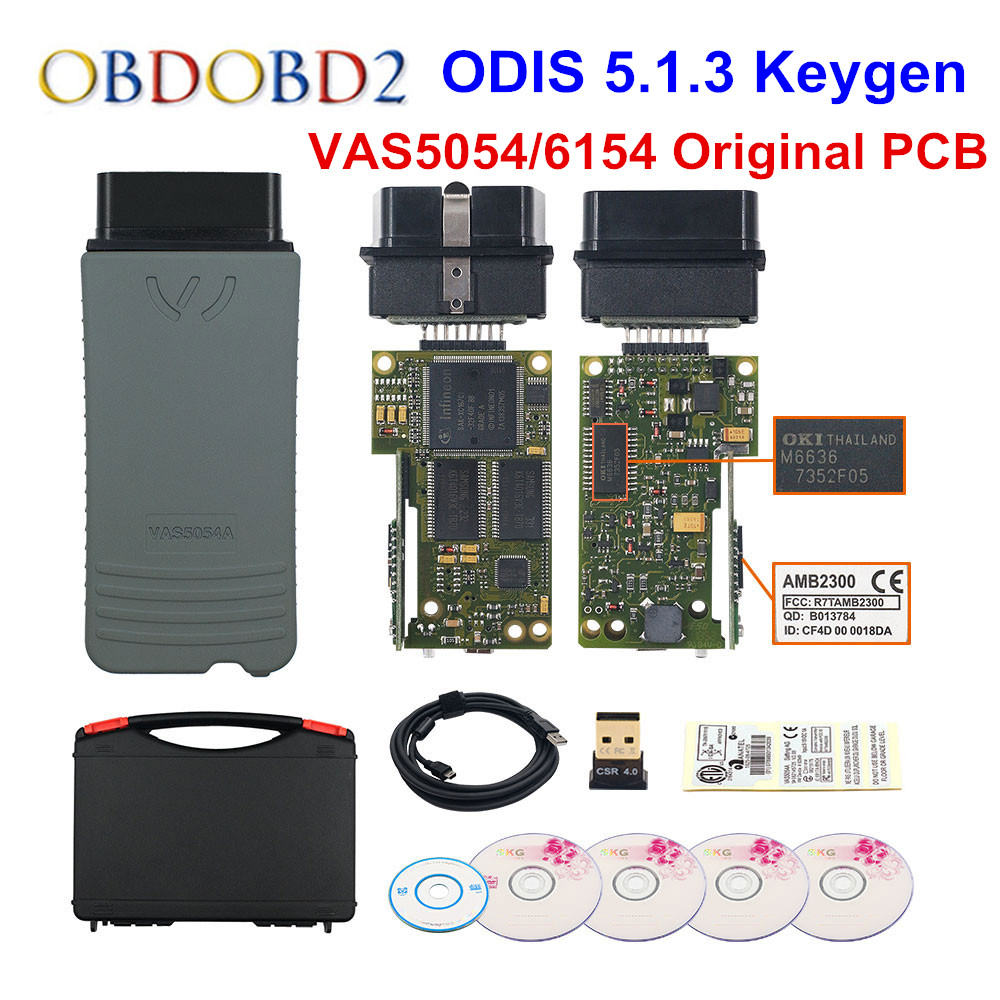 D'origine VAS5054 OKI Keygen VAS5054A Bluetooth AMB2300 ODIS V5.1.3 pour V/AUDI/SKODA/SEAT VAS 5054A VAS6154 WIFI UDS pour VAG