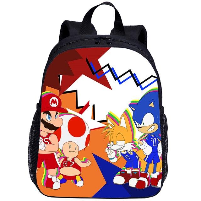 Moda Sonic jeż torby szkolne dla chłopca dziewczyna śliczny maluch dzieci plecaki szkolne kreskówka Mario dzieci torba podróżna Mochila