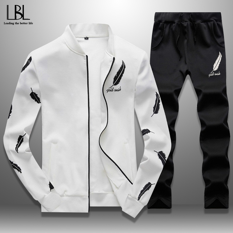 Slim Tracksuit Men Casual Mens Sweat Suits Sets Sweatshirts Male Fitness Jacket Sporting Suits Sweatsuit + Sweatpants Set Spring