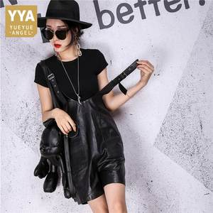 Bib Shorts Straps Streetwear Female High-Quality Genuine-Leather Casual Women Fit Overalls