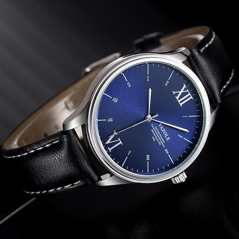 YAZOLE Relojes Hombre 2019 Luxury Top Brand Fashion Casual Dress Watch Men Leather Band Quartz Men's Wrist Watches Reloj Hombre