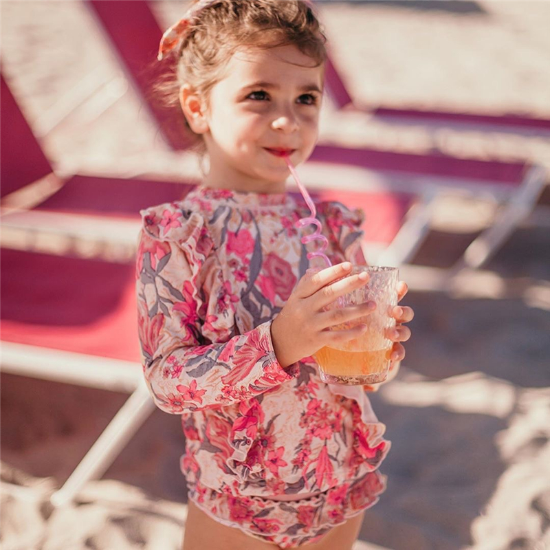 2020 Trends Brand Luxurious Brand Girls' Swimsuit Vintage Floral Swimsuits Kids Pink Swimming Wear Ruffle Baby Hawaii Suits