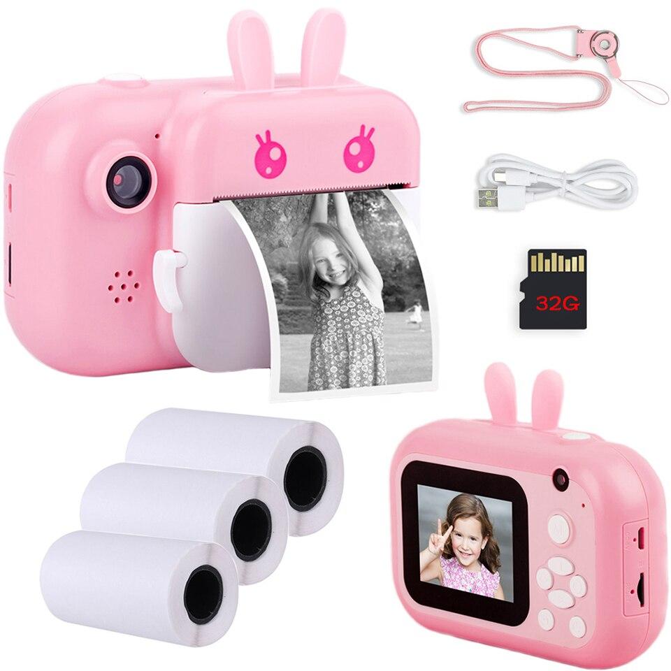 Crianças 32gb câmera instantânea para crianças câmera de impressão 1080p hd câmera digital para crianças foto câmera brinquedo presente aniversário para menina menino