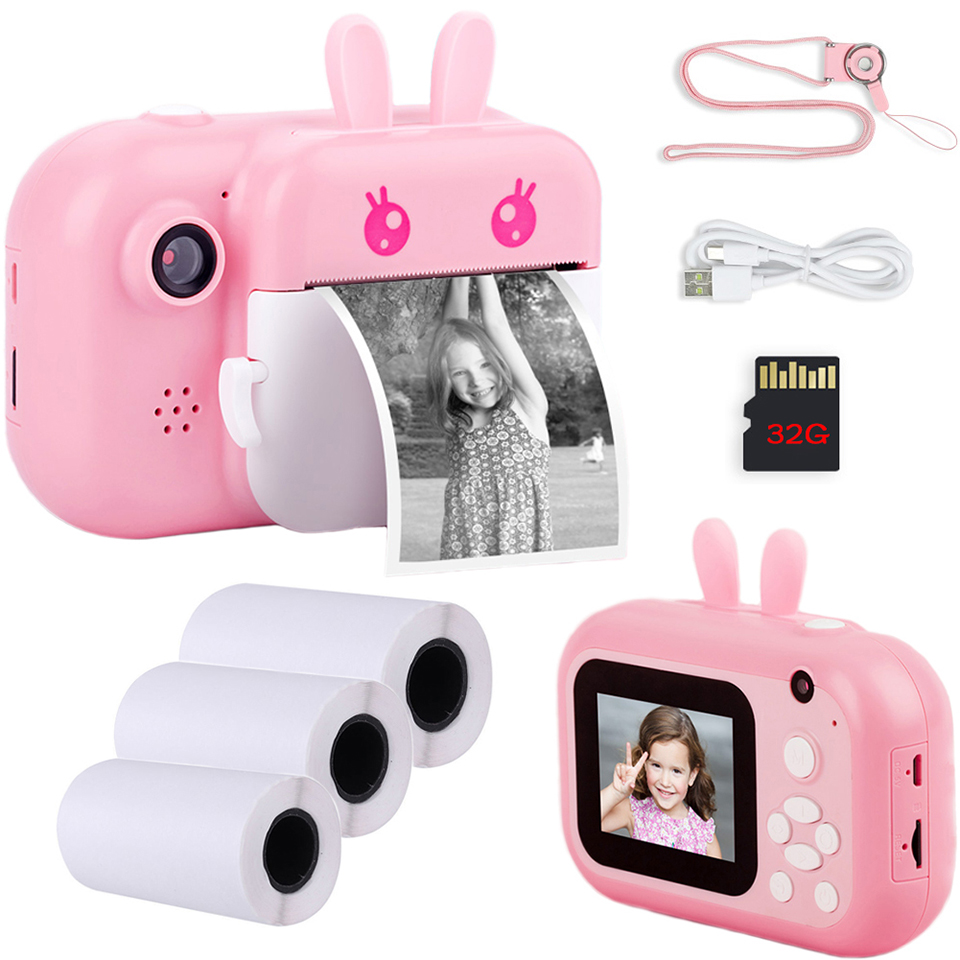 Kids 32Gb Instant Camera Voor Kinderen Print Camera 1080P Hd Digitale Camera Voor Kinderen Foto Camera Speelgoed Verjaardag cadeau Voor Meisje Jongen