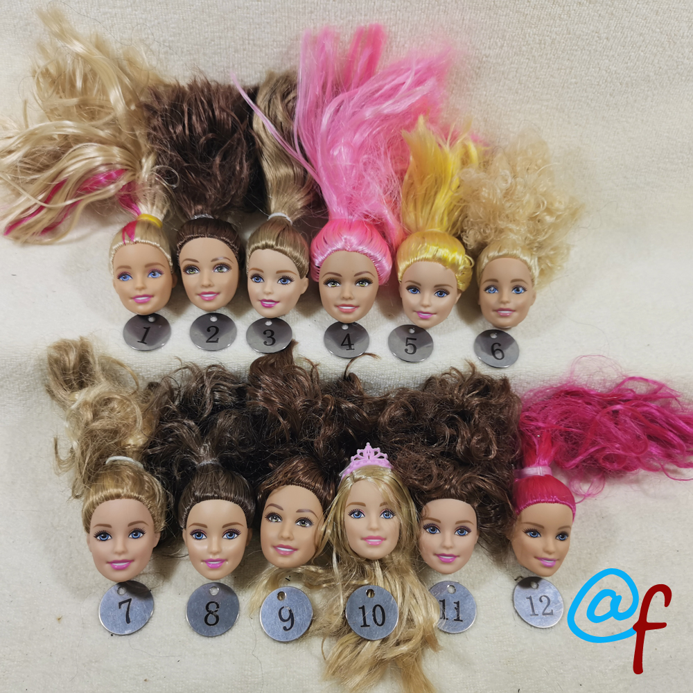 B20-16 Original Foreign Trade European Beauty1/6 OOAK NUDE Doll Head Mussed Hair For DIY Soft PVC Head With Fitting  90%NEW