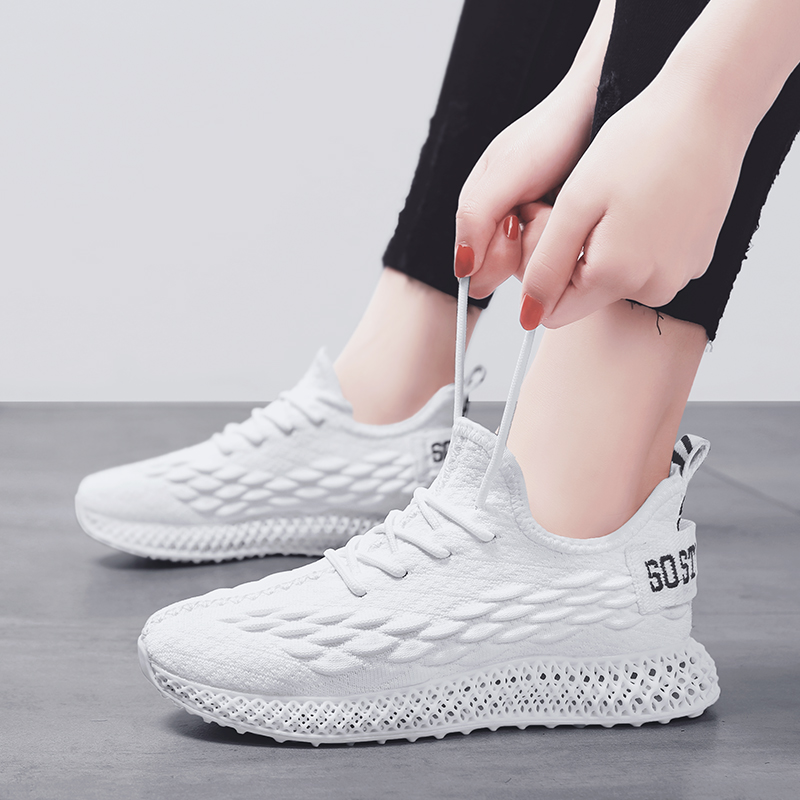 2019 High quality women sneakers 4D soles flyknit mesh breathable outdoor casual shoes woman solid white pink green