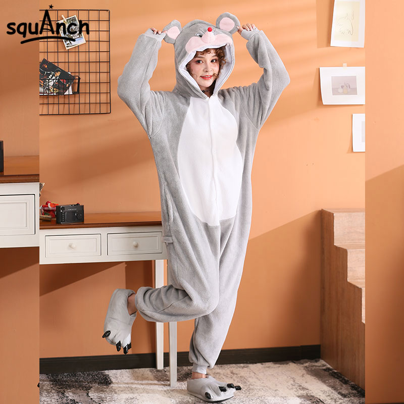 Funny Onesie Jerry Mouse Overalls Unisex Adult Kigurumis Animal Jumpsut For Festivals  Winter Sleepwear Women Men Pajama Flannel