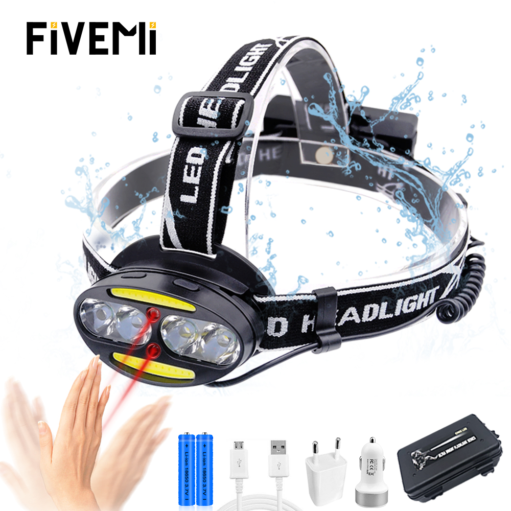 Headlamp Super bright Super Lumen headlight 4  T6  2 COB 2 Red LED Head Lamp Flashlight Torch Lanterna with batteries charger