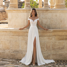 Wedding-Dress Bridal-Gown Robe-De-Mariee Lace Side-Slit Applique Bohemian Sexy Plus-Size