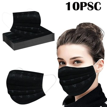 Black Disposable Face Mask adults 10pc Bow Print Disposable Mascarillas Outdoor 3ply Ear Loop Women Men Protection Masks Masque image