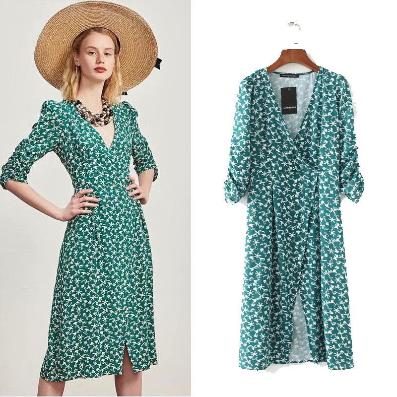 2018 Summer New Style WOMEN'S Dress Western Style Fashion Green Flower Pullover Slit Slim Dress 1119