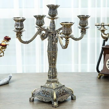 Bronze Candle hodlers Metal 5-arms Delicate Wedding Candelabra Candlesticks Candle Stand Table Centerpiece For Event Decoration