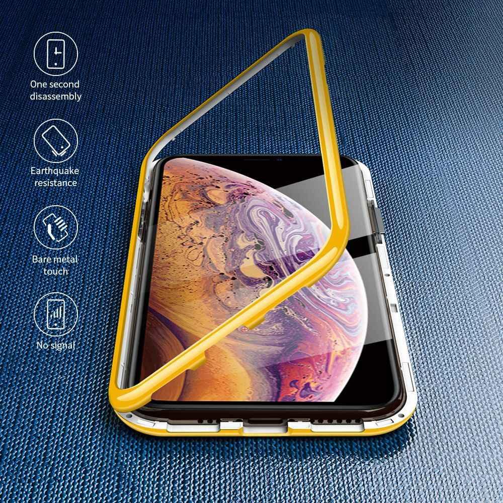 2019 磁気吸着電話ケース iphone 11 プロマックス XR XS MAX X 8 7 6 6s プラス PC バンパーマカロンケースガラスマグネットカバー
