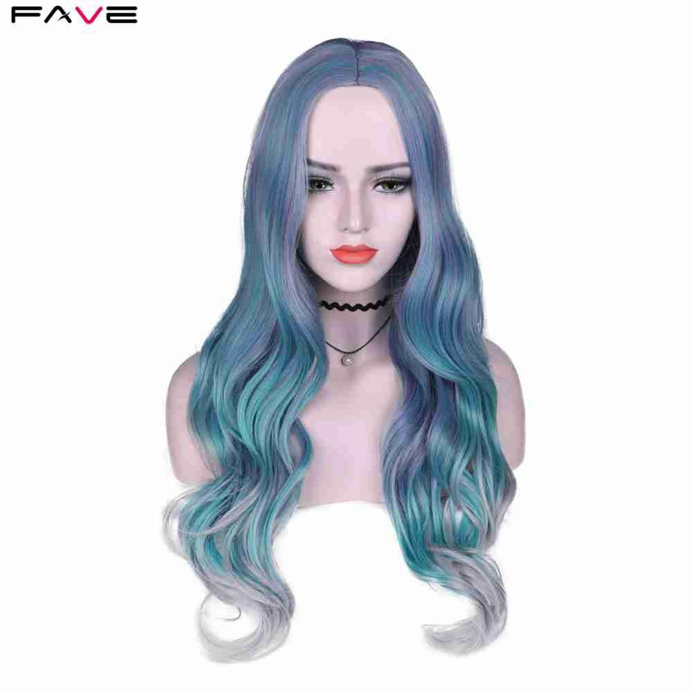 FAVE Long Wavy Hair Mixed Violet Blue Green Light Gray Heat Resistant Synthetic Wigs For Women Middle Part Halloween Party Wigs