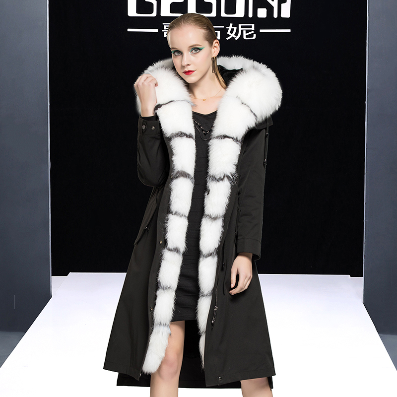 Fur Real Coat Female Real Rabbit Fur Liner Parka Winter Jacket Women Fox Fur Collar Korean Long Jackets Veste Femme MY S
