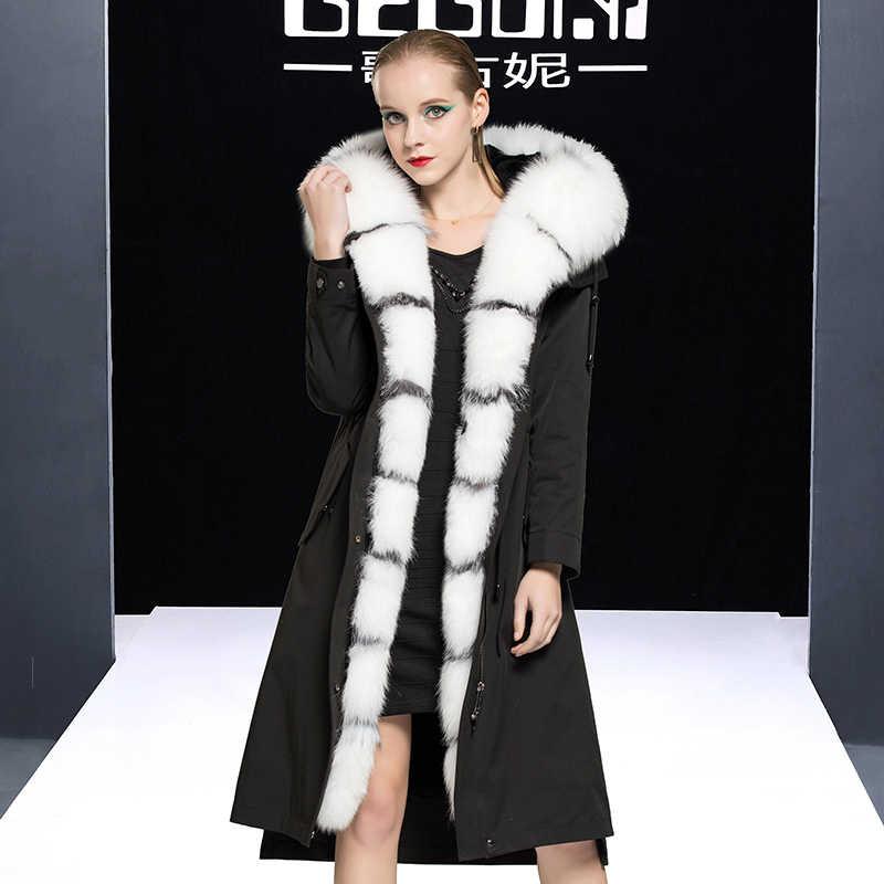 Fur Real Mantel Weibliche Echt Kaninchen Pelz Liner Parka Winter Jacke Frauen Fuchs Pelz Kragen Koreanische Lange Jacken Veste Femme MEIN s
