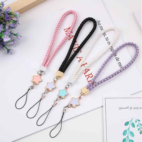 Woven Leather Pentagram Mobile Phone Lanyard New Star Shape Woven Bracelet Short Keychain Mobile Phone ID Lanyard