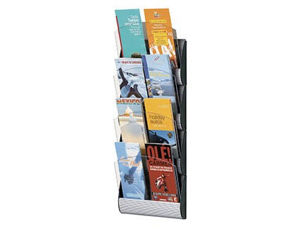 EXHIBITOR MURAL FAST-PAPERFLOW 4 Boxes 1/3 DIN A4/DIN A5 ALUMINUM COLOR 690X232X90 MM