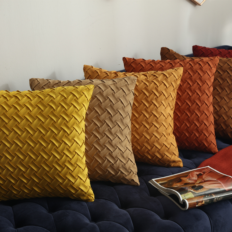 Solid Yellow Brown Dark Red Cushion Cover Soft Faux Suede Home Decorative Pillow Cover Woven Pattern  45x45cm/30x50cm