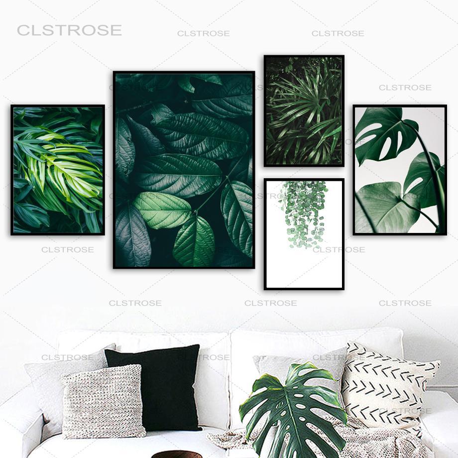 Природа тропические Пальмовые Листья Monstera настенная живопись холст скандинавские постеры и принты настенные картины для гостиной домашни...