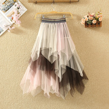 mid length irregular fall and winter color contrast high waist skirt with all ki