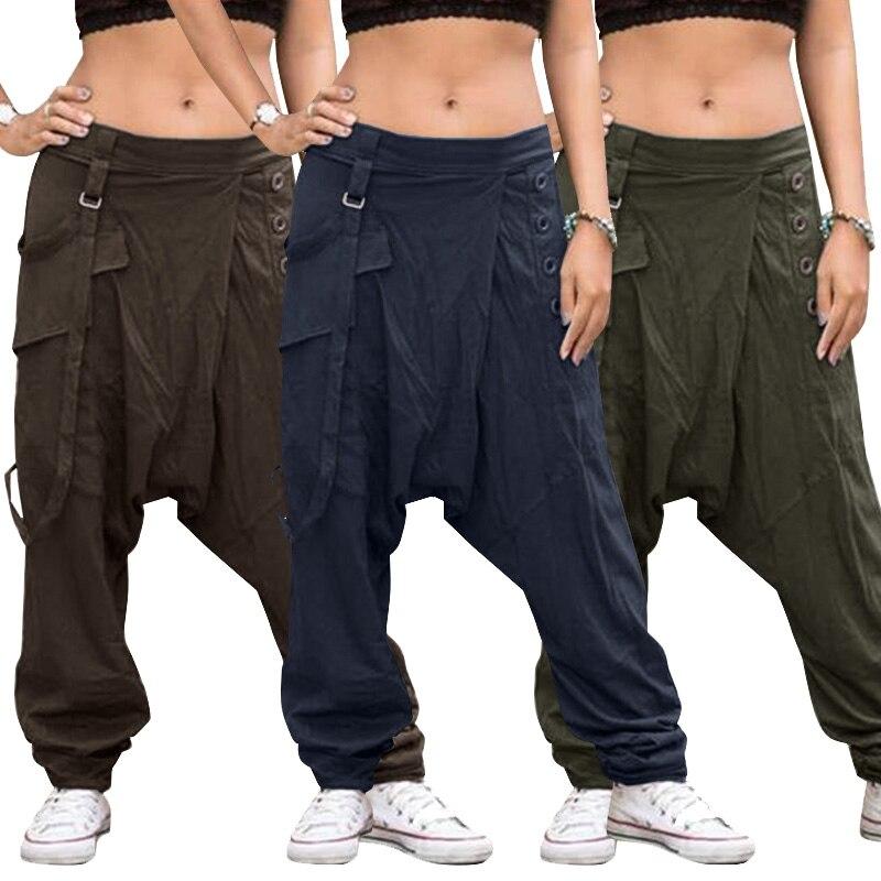 Women's Cargo Pants 2019 ZANZEA Causal Trousers Overalls Button Elastic Waist Pantalon Female Palazzo Turnip Oversized Pants