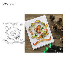JC Rubber Stamps for Scrapbooking Im nuts About you Craft Stamp Squirrel Pine Cone Silicone Seals Stencil Album Card Make Sheet