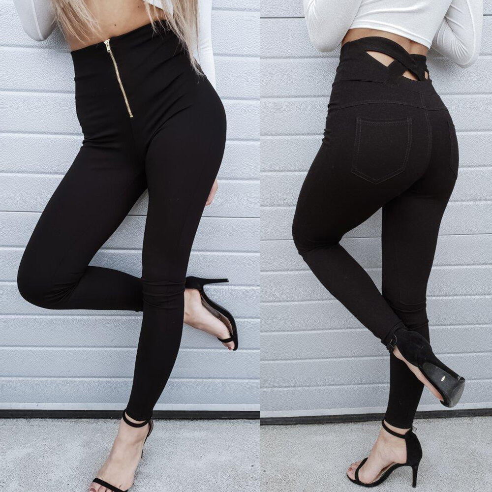 Women Trousers Pants Solid Black High Waist Ladies Pencil Pants Zipper Skinny Sexy Fashion Legging Trousers For Female Pants D30