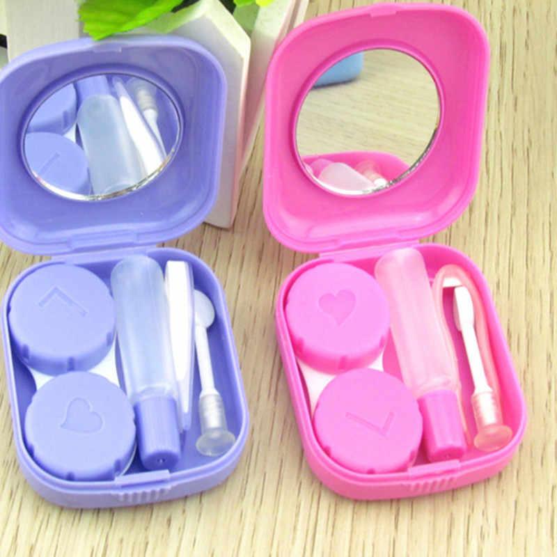 Przenośne słodkie pudełko na soczewki kontaktowe futerał na okulary do zestaw do pielęgnacji oczu cukierki stałe kolorowe okulary pojemnik do przechowywania pojemnik prezent dla kobiet mężczyzn