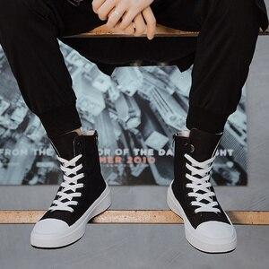 Image 2 - 秋男性カジュアルシューズキャンバス男性黒 Krasovki Tenis Hombre Fahsion Chaussures オム通気性ハイトップスニーカー男性トレーナー