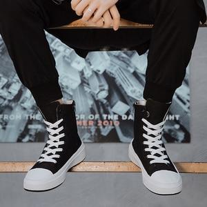 Image 2 - ฤดูใบไม้ร่วงชายรองเท้าสบายๆรองเท้าผ้าใบชายสีดำ Krasovki Tenis Hombre แฟชั่น Chaussures Homme Breathable High Top รองเท้าผ้าใบ Trainers