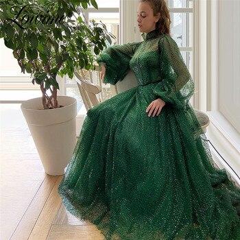 Зеленое вечернее платье с длинным рукавом и бусинами, вечерние платья с блестками, вечерние платья на Ближнем Востоке, вечерние платья в Дуб