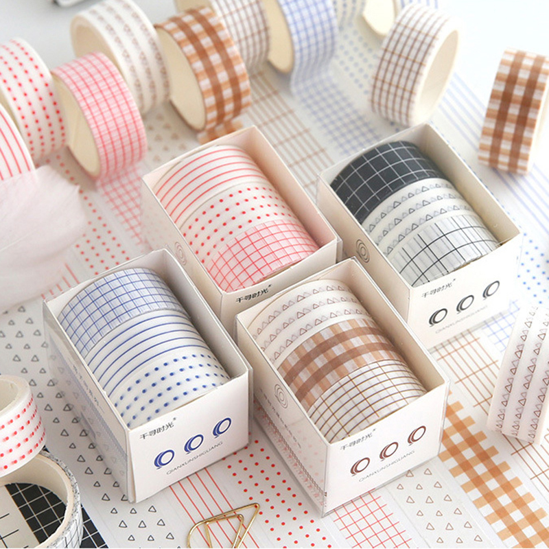 Chihiro Time Hand Account Washi Tape Set Kawaii Base Solid Color Lattice Border Sticker Masking Tape DIY Diary Album Planners