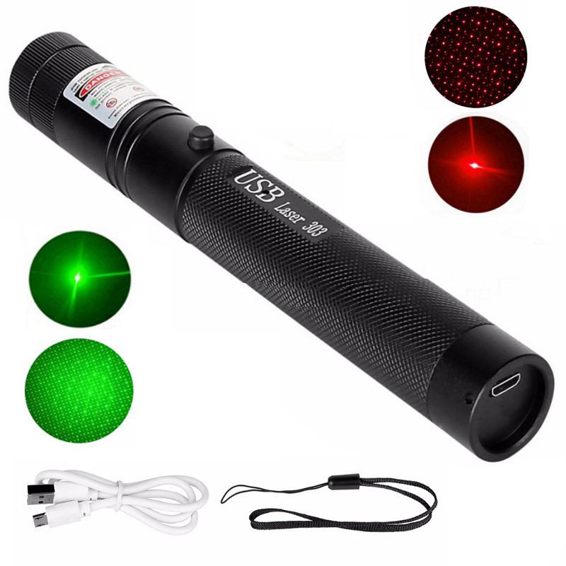 High Power Rechargeable Green USB Laser Pointer Red Laser 303 Portable Lazer Pen For Hunting Metal USB Lazer 303