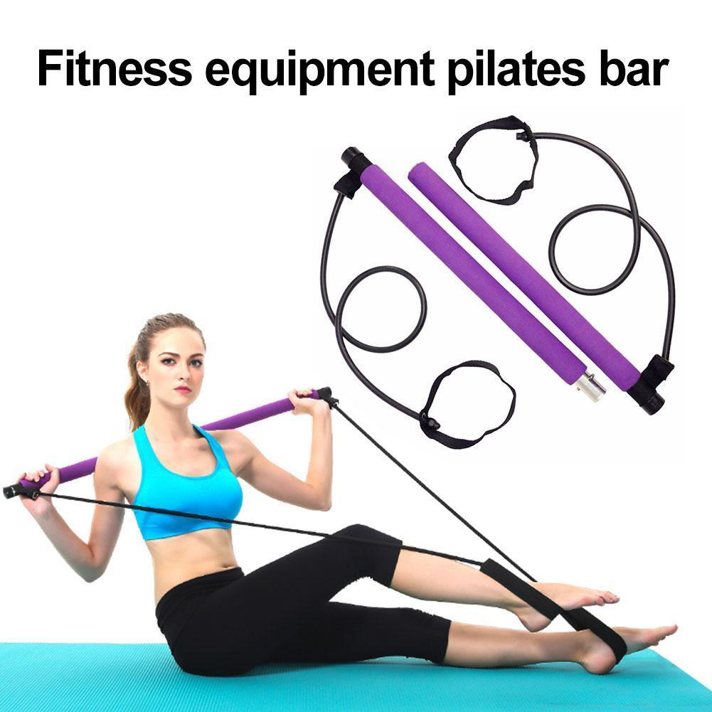 1 Pcs Pilates Bar Stick With Resistance Band Portable Elastic Lightweight 2 Pilates Foot Trainer Loops Bar Stick