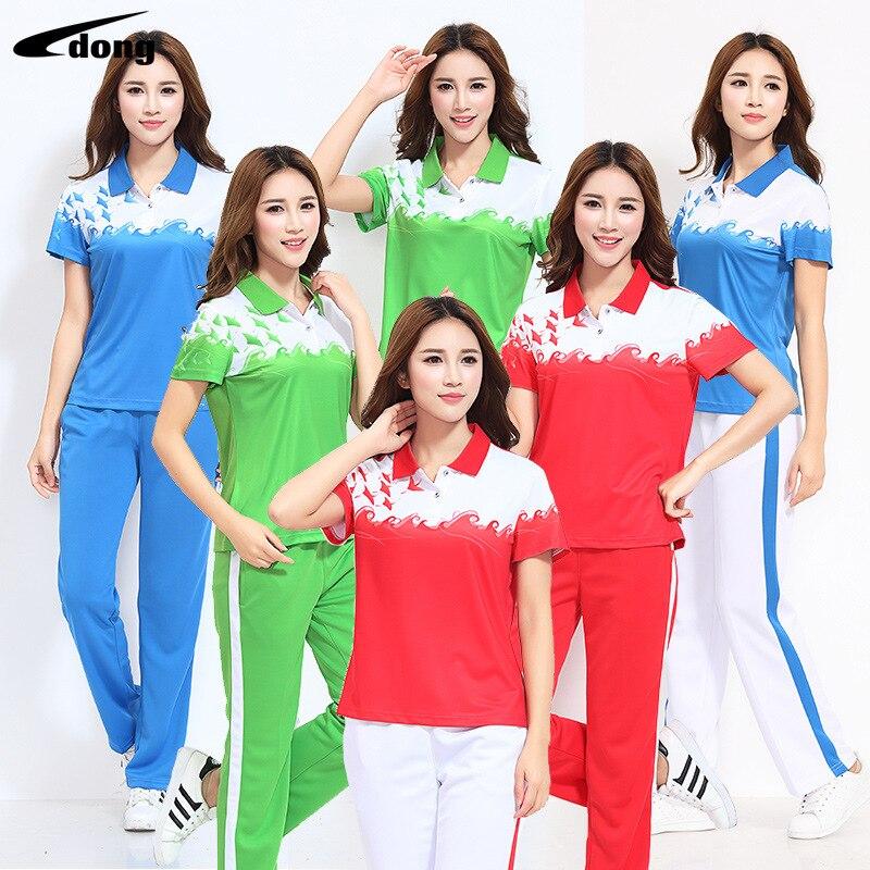 2017 Short Sleeve Sports Clothing Set Men And Women Large Size Jiamusi Fitness Exercise Square Dance Groups Clothing Summer Thin