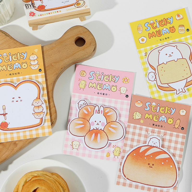 30 Pages Yummy Bread N Times Memo Pad Sticky Notes Cute Bookmark Stationery Label Stickers School Supplies Notepad Gift Kawaii